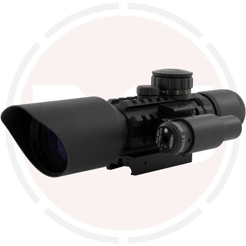 In Your Sights 3-10x40 Red & green dot illuminated rifle scope / Airsoft sight +Red laser