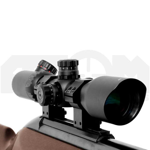 Atom 3-12x42 illuminated reticle rifle scope with mounts