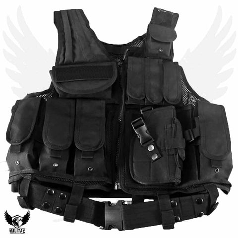 Militac Black Tactical Vest / Combat Assault Airsoft Army Molle Attachment Rig Top