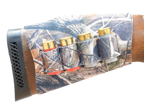 Realtree style camouflage shotgun cartridge stock holder