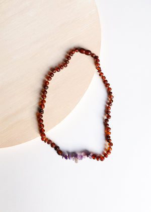 Canyon Leaf - Raw Cognac Amber + Raw Amethyst Necklace -