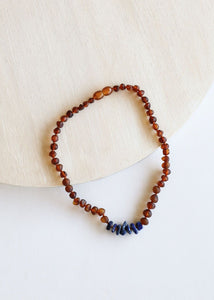 Canyon Leaf - Baltic Amber Necklace - Lapis Stones - 12""