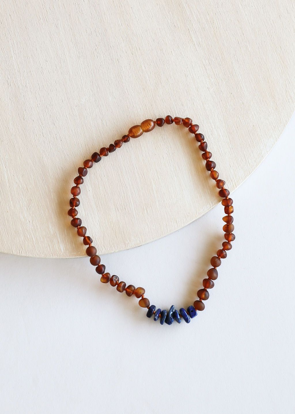 Canyon Leaf - Baltic Amber Necklace - Lapis Stones - 12