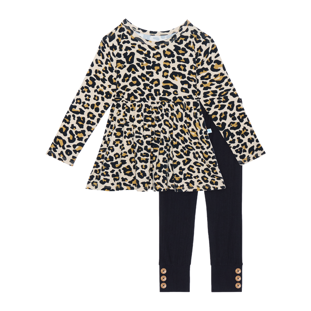 Posh Peanut - Lana Leopard Tan Long sleeve Basic Peplum Top & Leggings Set
