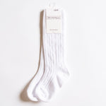 Little Stocking Co. - White Cable Knit Knee Highs