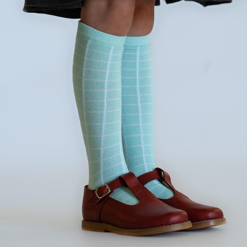 Little Stocking Co. - Aqua Mint Grid Knee Highs