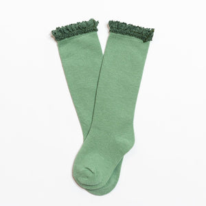 Little Stocking Co. - Spearmint Lace Top Knee Highs