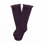 Little Stocking Co. - Eggplant Lace Top Knee Highs