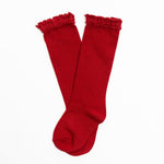 Little Stocking Co. - Cherry (True Red) Lace Top Knee Highs