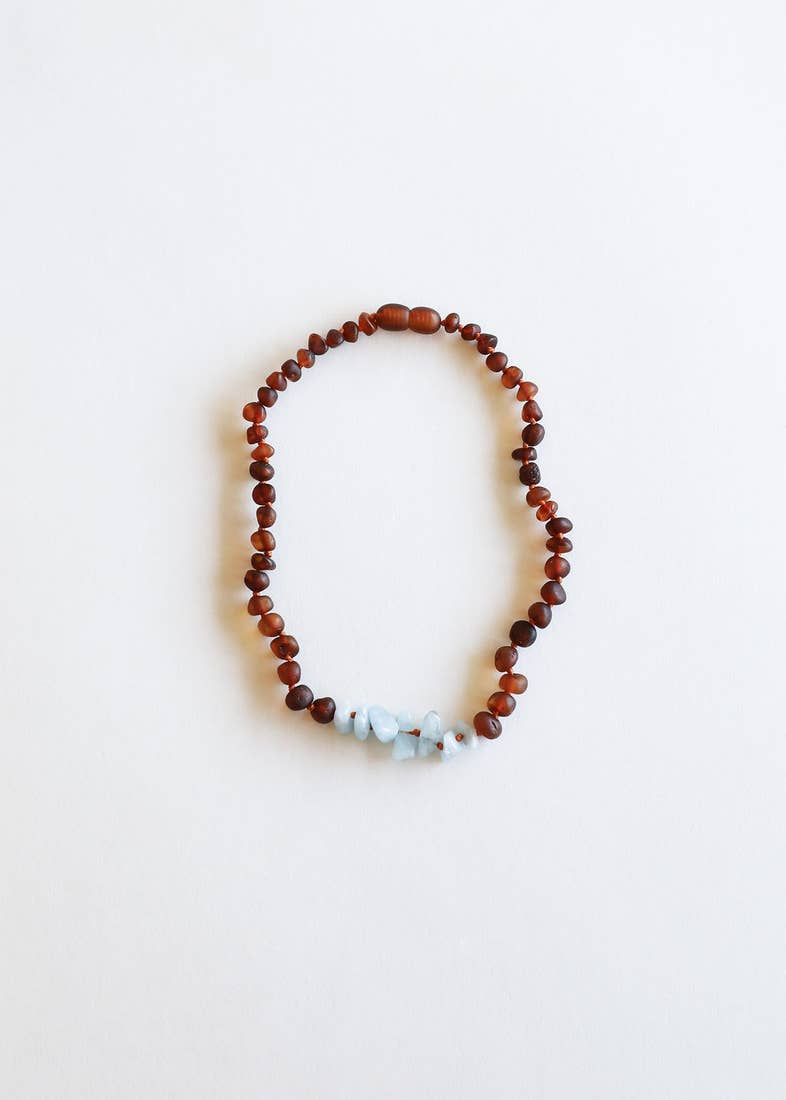 Canyon Leaf - Raw Cognac Amber + Amazonite - 11