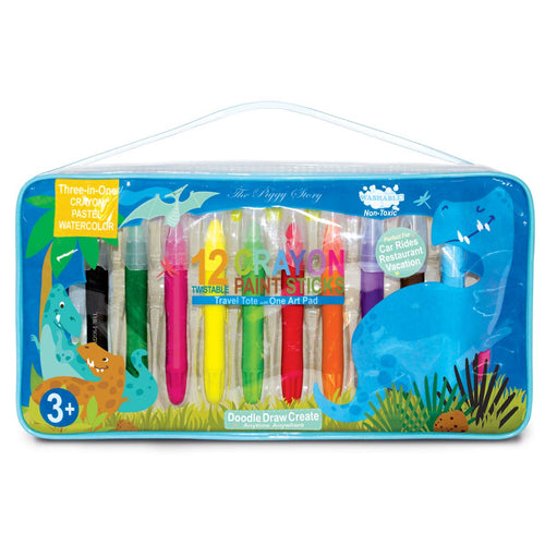 The Piggy Story - Dinosaur World Crayon Paint Sticks Travel Tote