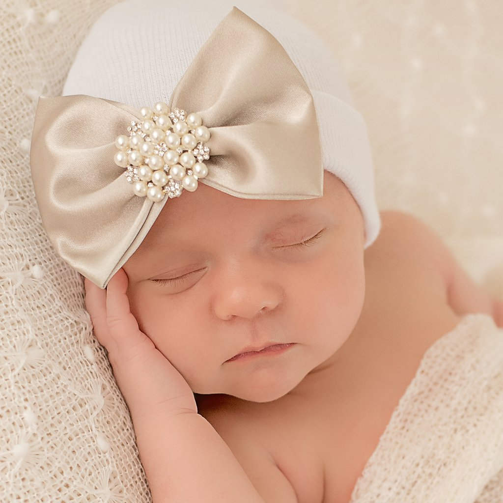 ILYBEAN Nursery Beanies - Melondipity Soft Gold Satin Bow with Pearl Rhinestone Jewel White Hospital Hat