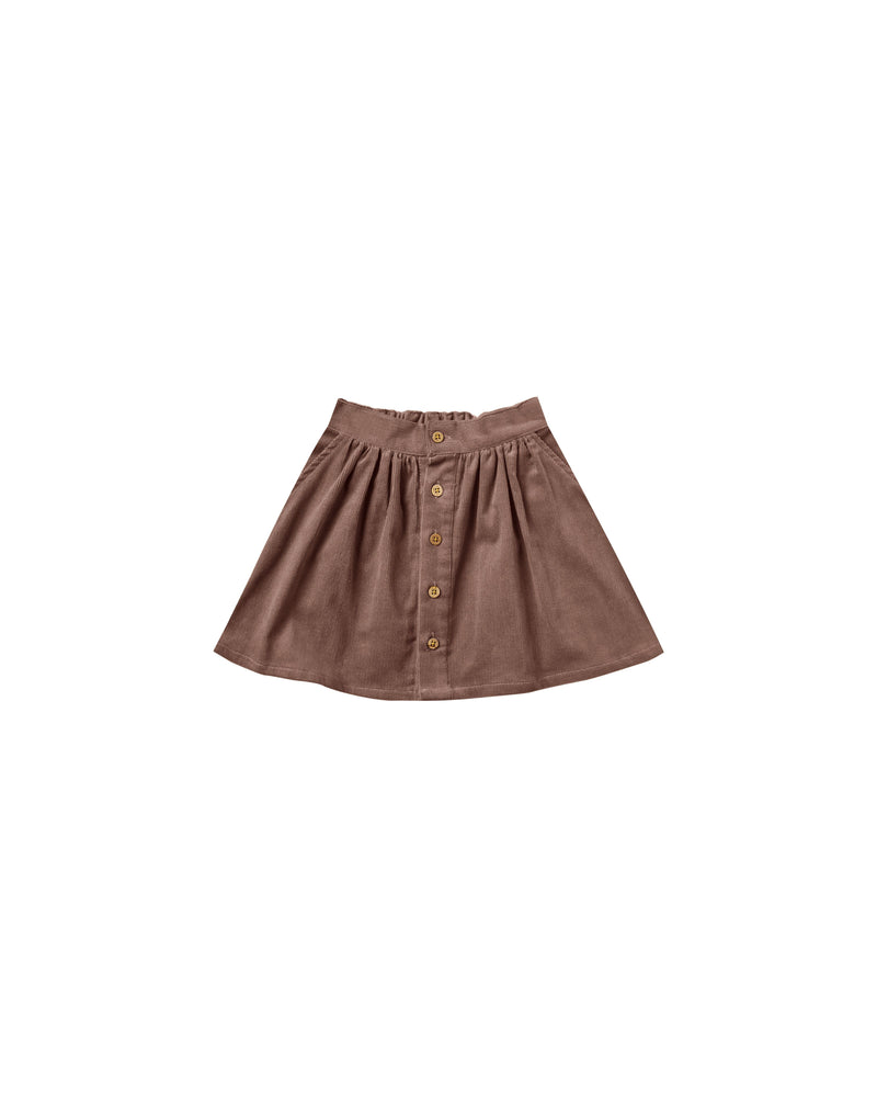 Rylee & Cru - Enchanted - Wine Corduroy Button Front Mini Skirt