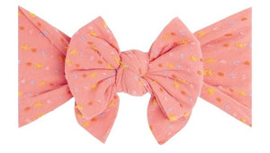 Load image into Gallery viewer, Baby Bling Bows - SHABBY DANG ENORMOUS BOW - Coral Rainbow Dot