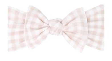 Load image into Gallery viewer, Baby Bling Bows - PRINTED KNOT - Petal Gingham