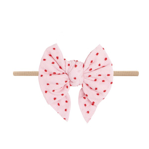 Baby Bling Bows - SHABBY DEB SKINNY - Pink with Red Dot