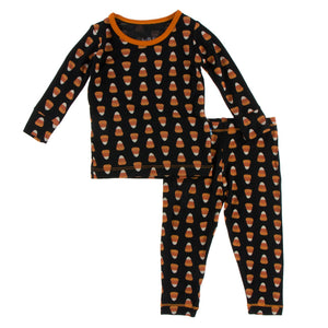 Kickee Pants - Celebrations - Print Long Sleeve Pajama Set - Midnight Candy Corn