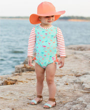 Load image into Gallery viewer, Ruffle Butts - Flamingo Beach Stripe One Piece Rash Guard