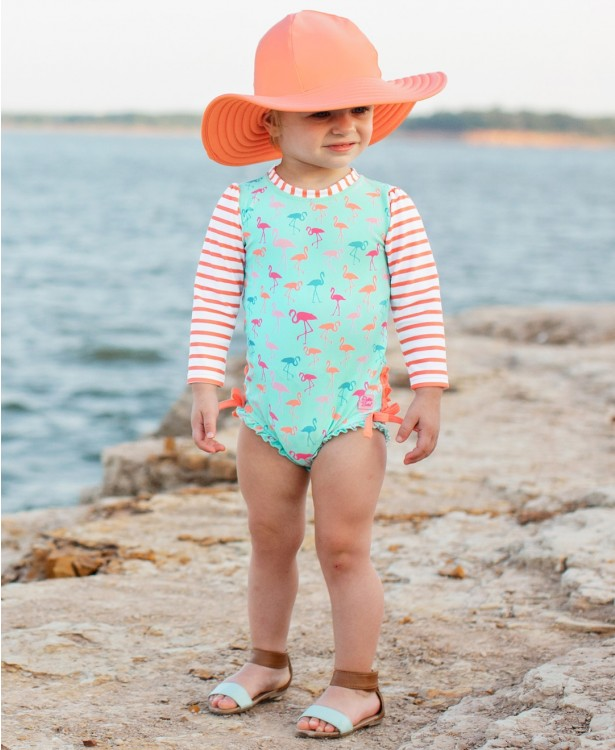 Ruffle Butts - Flamingo Beach Stripe One Piece Rash Guard