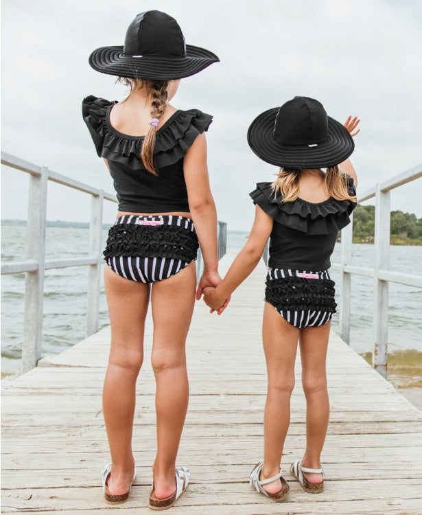 Ruffle Butts - Black Swim Hat