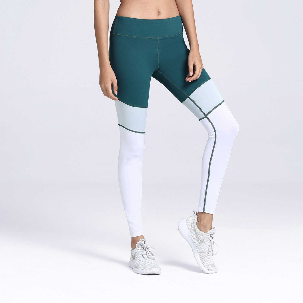 Incline Color Block Leggings Green Front