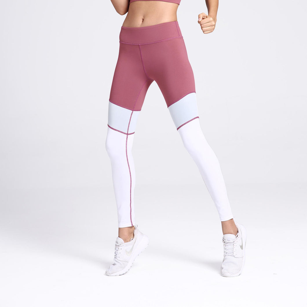 Incline Color Block Leggings Pink Front