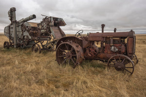 Vintage McCormick Deering tractor and threshing machine from the early 1900's
