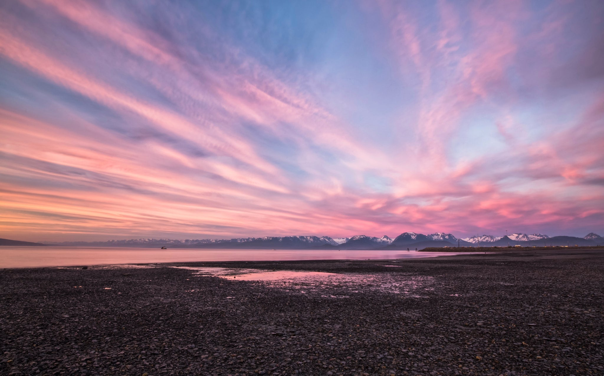 The back end of the sunset in Homer, Alaska