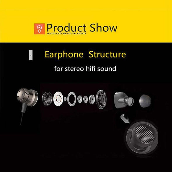 HBE6 Earphone Metal Bass Headphone With Mic For All Smartphones (Black & Red)