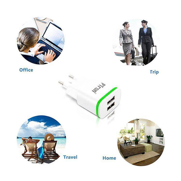 Electra 210 2 USB Ports 2.1A And 1A Travel Charger Fast Charging Wall Mount Charger Adapter With Light For All Smartphones (White)