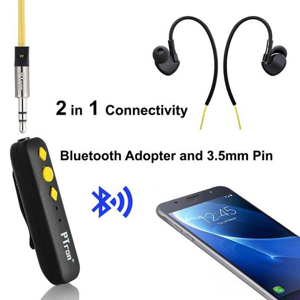 Soundrush Wireless Bluetooth Adapter With Earphone For All Smartphones (Yellow)