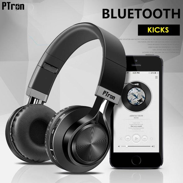 Kicks Bluetooth Headset Wireless Stereo Headphone With Mic For All Smartphones (Black)
