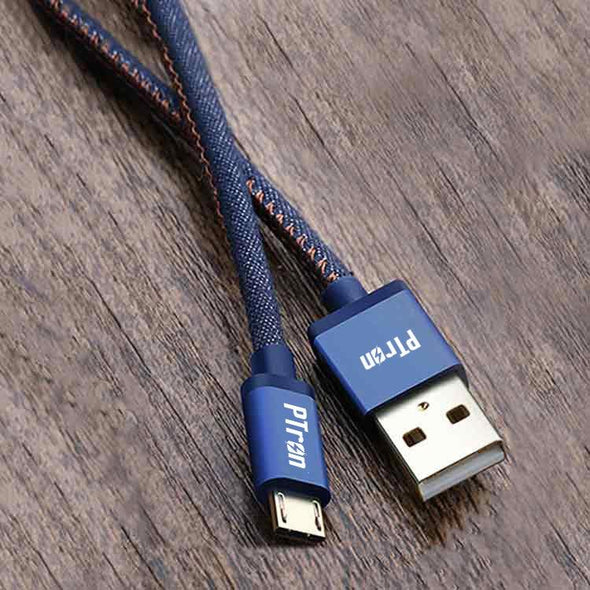 Indigo USB To Micro USB Data Cable Jeans Cloth Sync Charging Cable For All Android Smartphones (Blue)