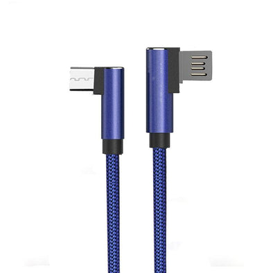 Solero USB To Micro USB Data Cable With L Shape Design Sync Charging Cable For All Android Smartphones (Blue)