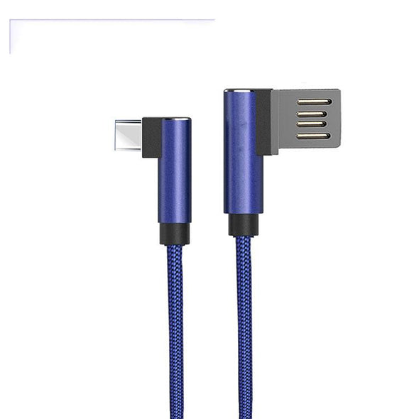 Solero USB To Type C Data Cable With L Shape Design Charging Cable For All Type C Smartphones (Blue)