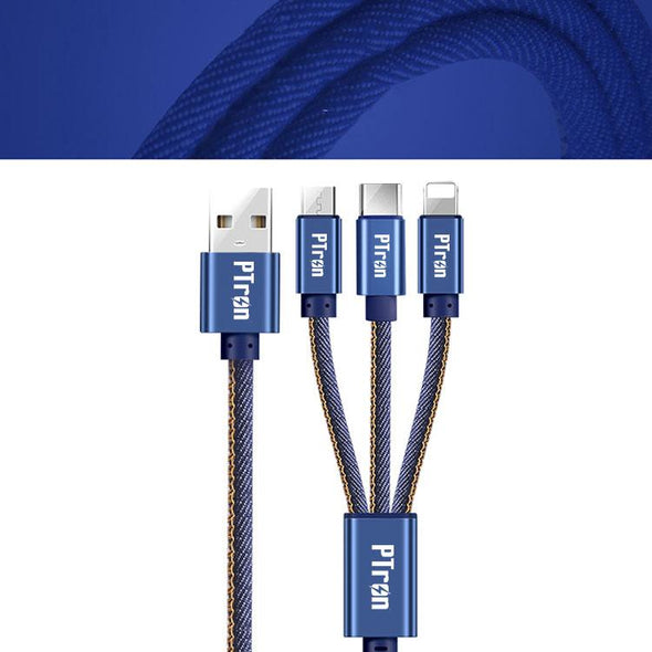 Indigo 2A 3 in 1 USB Data Cable Jeans Cloth Sync Charging Cable For All Smartphones (Blue)