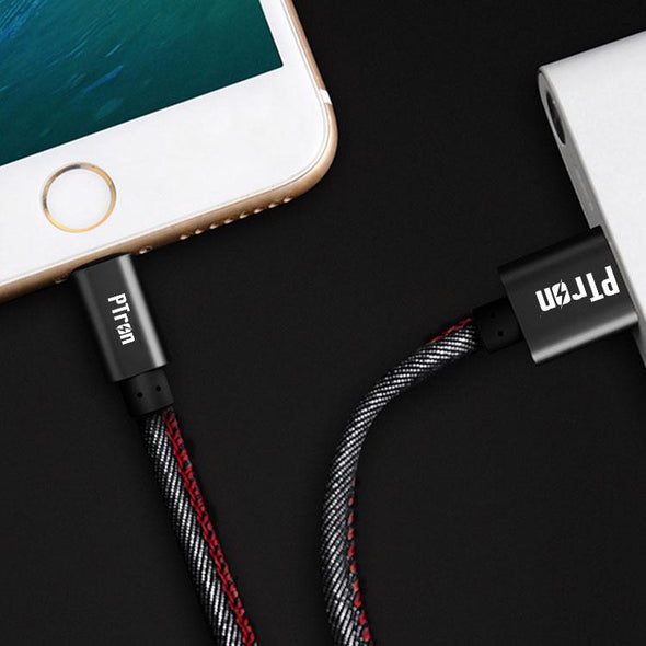Indigo 2A 3 in 1 USB Data Cable Jeans Cloth Sync Charging Cable For All Smartphones (Black)