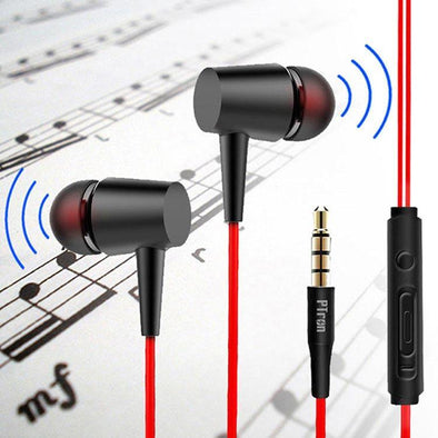 Alpha Earphones With Noise Cancellation And 3.5mm Jack For All Smartphones (Black/Red)