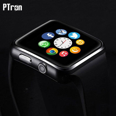 Rhythm Curved Bluetooth Smart Watch With Camera For All Smartphones (Black)