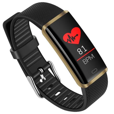 Pulse Fitness Activity Tracker Watch Band With Heart Rate For All Smartphones (Gold/Black)