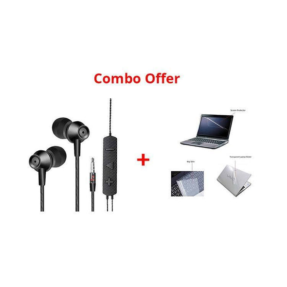 3 in 1 Rubber-Coated 15.6 Inch Laptop Cover And PTron HBE9 Universal Stereo In Ear Earphone