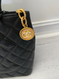 Authentic Chanel preowned black caviar medallion tote with gold hardware