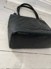 Load image into Gallery viewer, Authentic Chanel preowned black caviar medallion tote with silver hardware