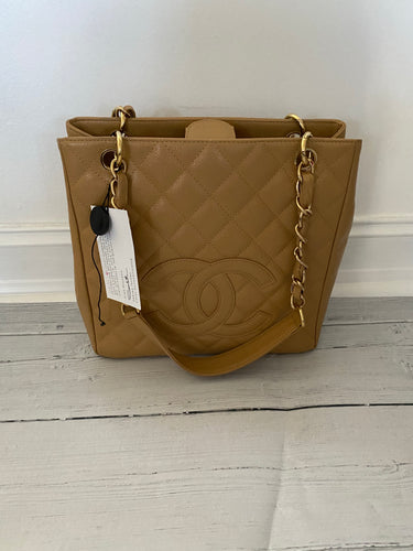 Authentic preowned Chanel PST beige caviar