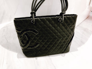 a375ff466278 Authentic preowned Chanel Black on black Large Cambon Tote