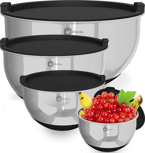 Superior Kitchen Mixing Bowls with Lids and Anti-Slip Bottoms