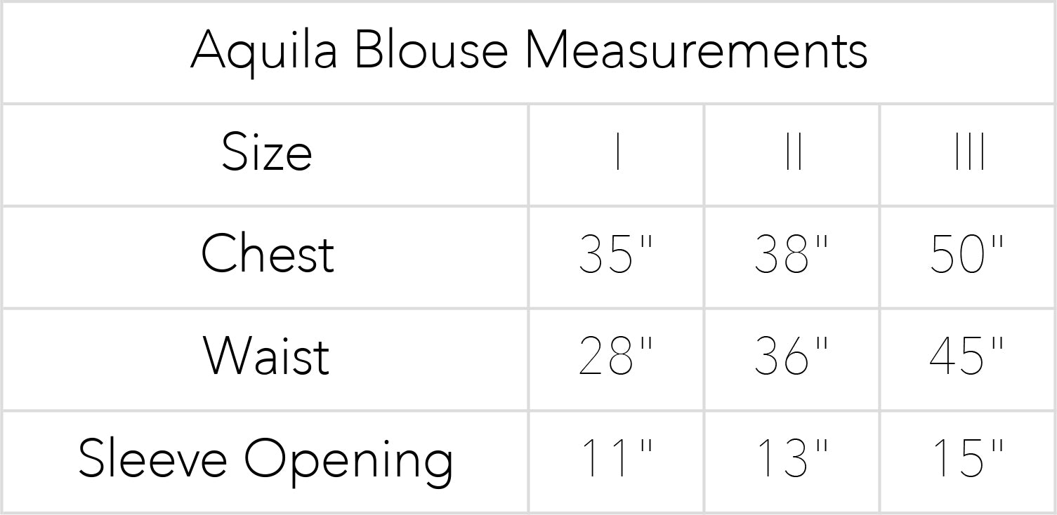 Aquila Blouse Measurements