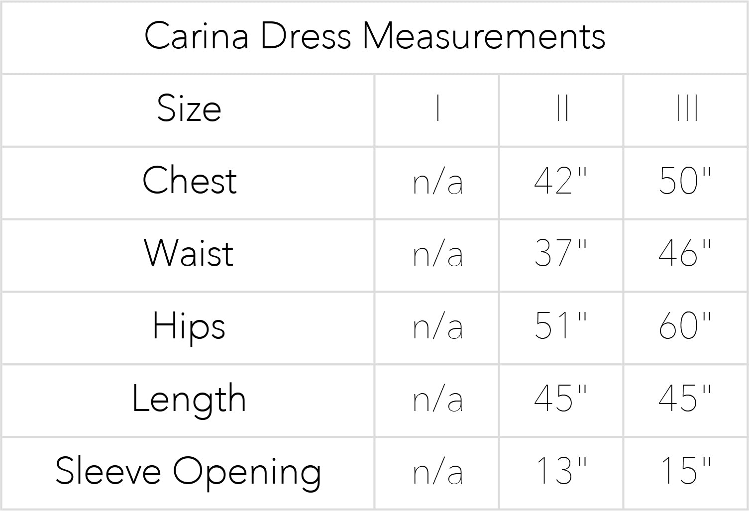 Carina Dress Measurements