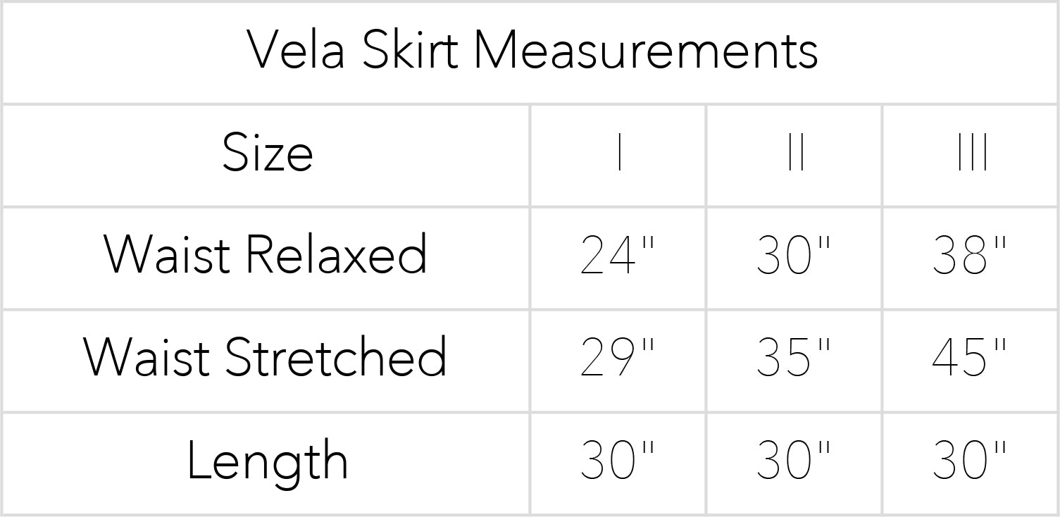 Vela Skirt Measurements