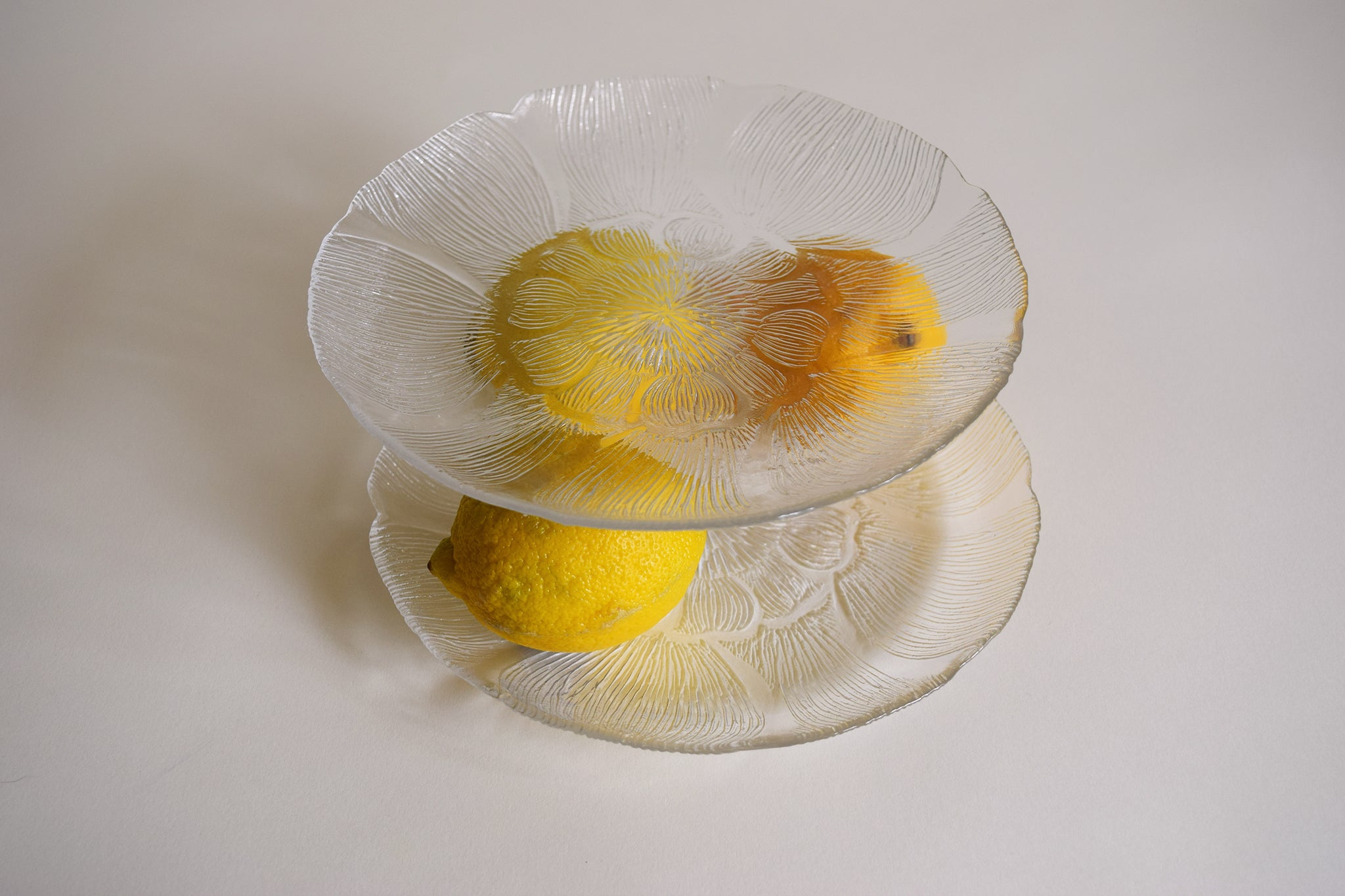 Pressed Floral Glass Plate Pair